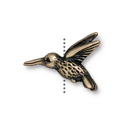 Hummingbird Bead, Oxidized Brass Plate, 20 per Pack