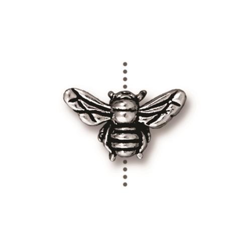 Honeybee Bead, Antiqued Silver Plate, 20 per Pack