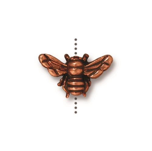 Honeybee Bead, Antiqued Copper Plate, 20 per Pack