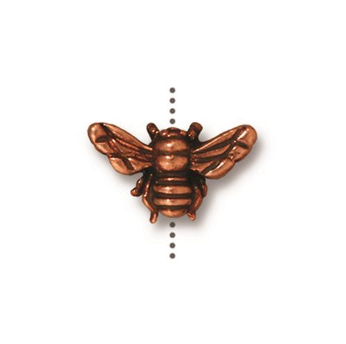 Honeybee Bead, Antiqued Copper Plate, 20 per Pack