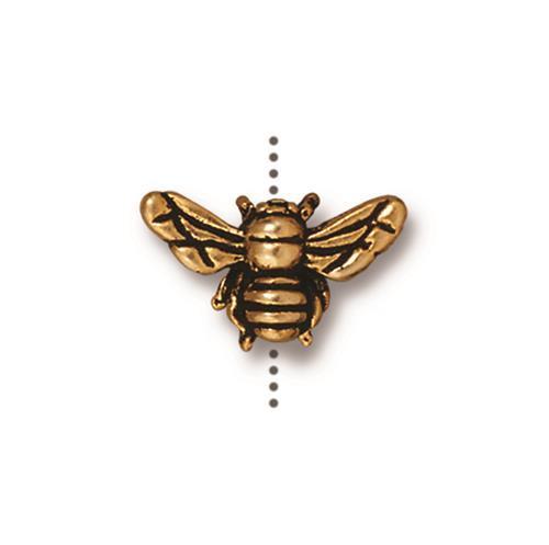 Honeybee Bead, Antiqued Gold Plate, 20 per Pack