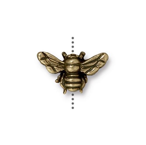 Honeybee Bead, Oxidized Brass Plate, 20 per Pack