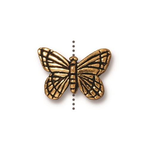 Monarch Bead, Antiqued Gold Plate, 20 per Pack