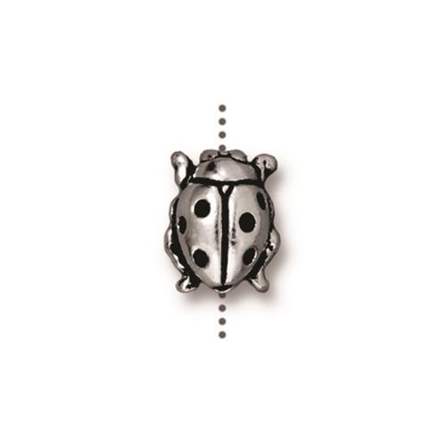 Ladybug Bead, Antiqued Silver Plate, 20 per Pack