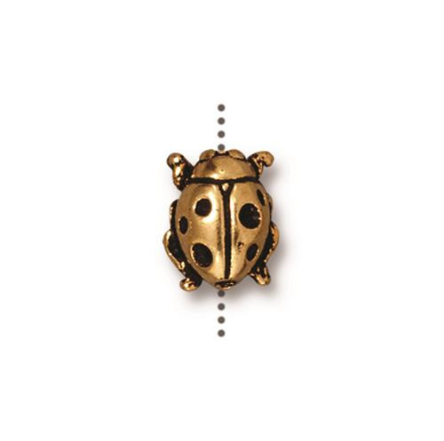 Ladybug Bead, Antiqued Gold Plate, 20 per Pack