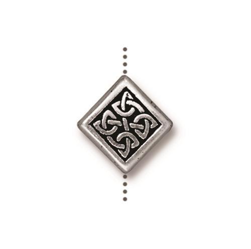 Medium Celtic Diamond Bead, Antiqued Silver Plate, 20 per Pack