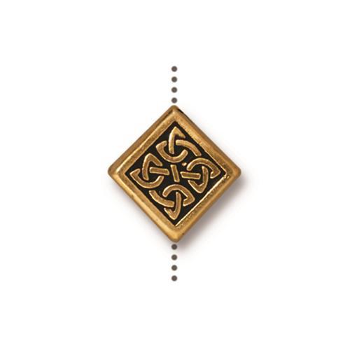 Medium Celtic Diamond Bead, Antiqued Gold Plate, 20 per Pack