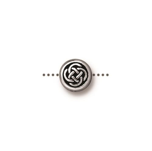 Small Celtic Circle Bead, Antiqued Silver Plate, 20 per Pack