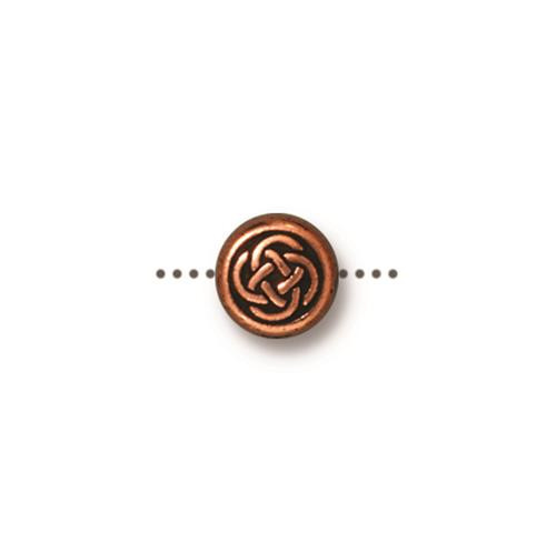 Small Celtic Circle Bead, Antiqued Copper Plate, 20 per Pack