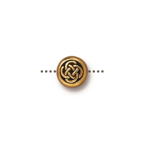 Small Celtic Circle Bead, Antiqued Gold Plate, 20 per Pack