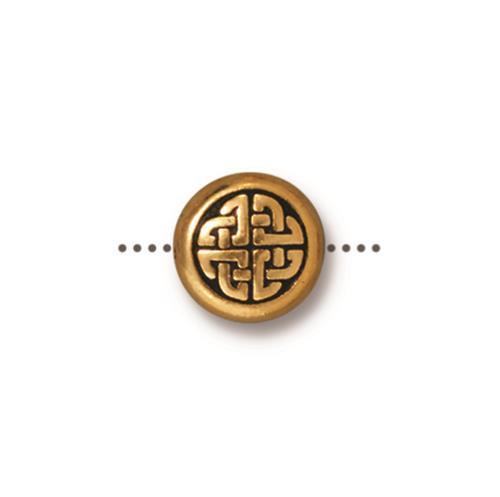 Medium Celtic Circle Bead, Antiqued Gold Plate, 20 per Pack