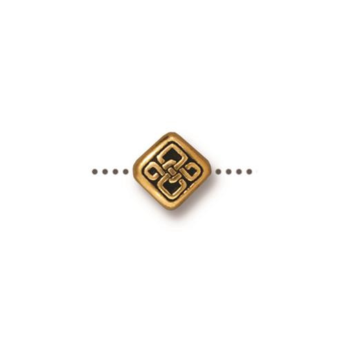 Small Celtic Diamond Bead, Antiqued Gold Plate, 20 per Pack