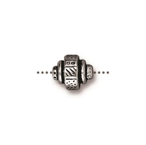 Woven Barrel Bead, Antiqued Silver Plate, 20 per Pack