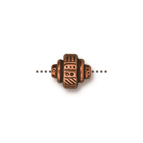 Woven Barrel Bead, Antiqued Copper Plate, 20 per Pack