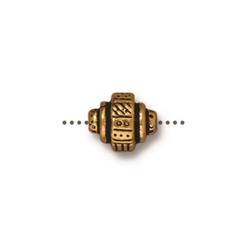 Woven Barrel Bead, Antiqued Gold Plate, 20 per Pack