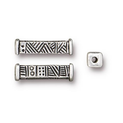 Woven Long Bead, Antiqued Silver Plate, 20 per Pack
