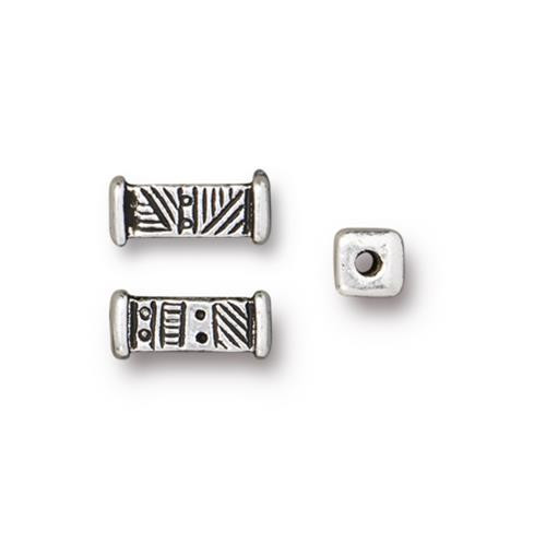 Woven Short Bead, Antiqued Silver Plate, 20 per Pack