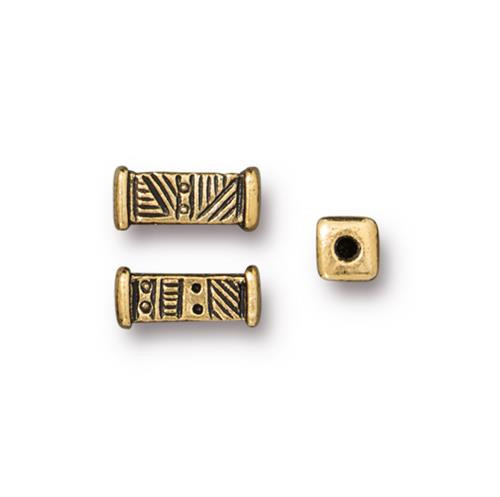 Woven Short Bead, Antiqued Gold Plate, 20 per Pack