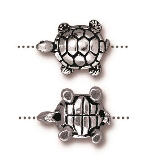 Turtle Bead, Antiqued Silver Plate, 20 per Pack