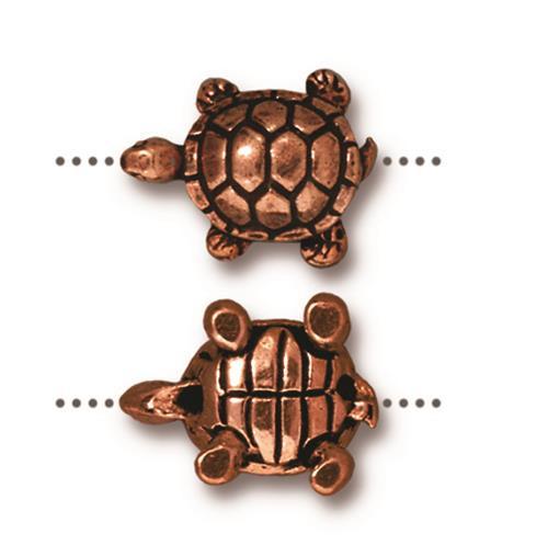 Turtle Bead, Antiqued Copper Plate, 20 per Pack