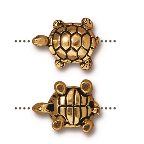 Turtle Bead, Antiqued Gold Plate, 20 per Pack