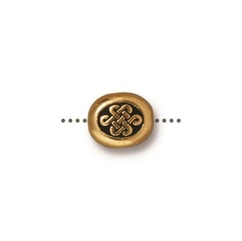 Small Endless Bead, Antiqued Gold Plate, 20 per Pack