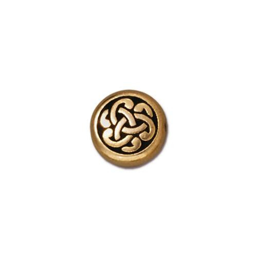 Circle Triad Bead, Antiqued Gold Plate, 20 per Pack