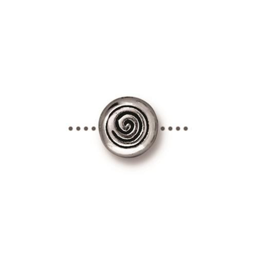 Spiral Bead, Antiqued Silver Plate, 20 per Pack