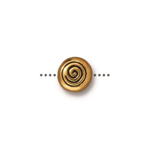 Spiral Bead, Antiqued Gold Plate, 20 per Pack