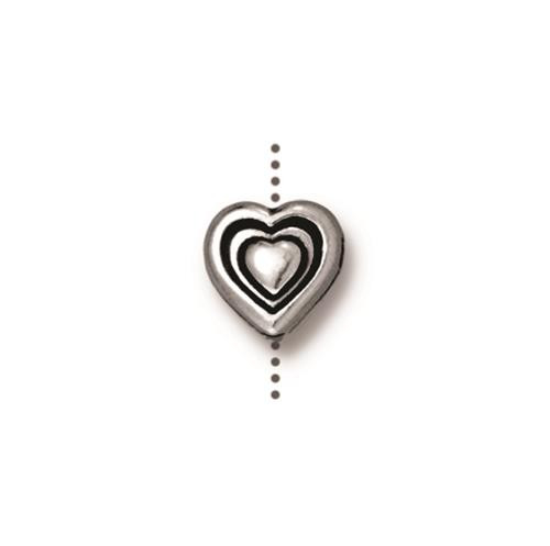 Heart Bead, Antiqued Silver Plate, 20 per Pack