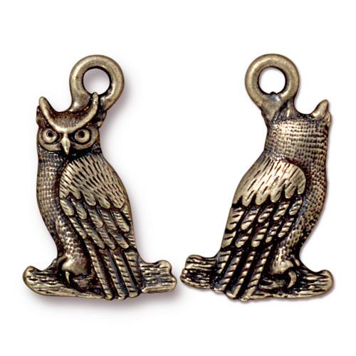 Owl Charm, Oxidized Brass Plate, 20 per Pack