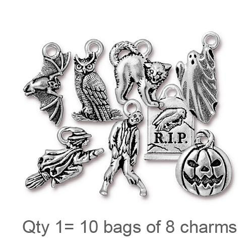 Halloween Charm Mix, Antiqued Silver Plate, 80 per Pack