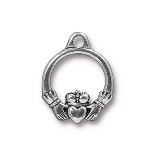 Claddagh Charm, Antiqued Silver Plate, 20 per Pack