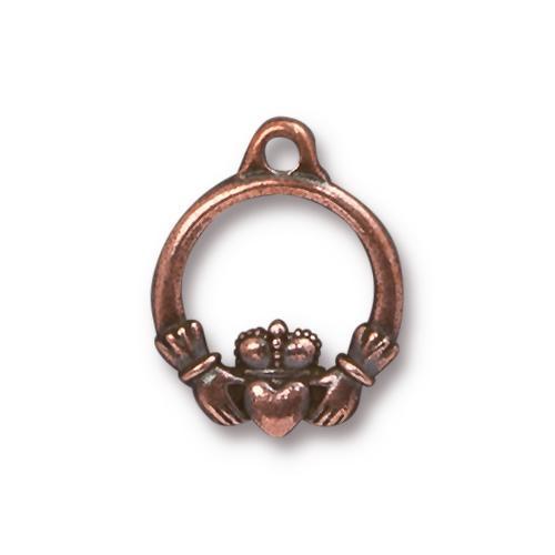 Claddagh Charm, Antiqued Copper Plate, 20 per Pack