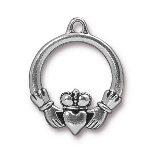 Claddagh Pendant, Antiqued Silver Plate, 20 per Pack