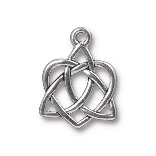 Celtic Open Heart Charm, Antiqued Silver Plate, 20 per Pack