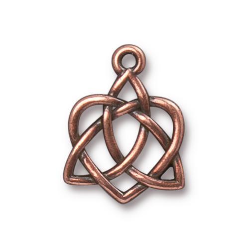 Celtic Open Heart Charm, Antiqued Copper Plate, 20 per Pack