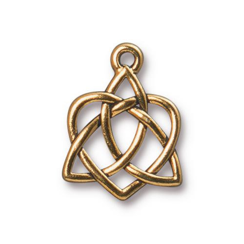 Celtic Open Heart Charm, Antiqued Gold Plate, 20 per Pack