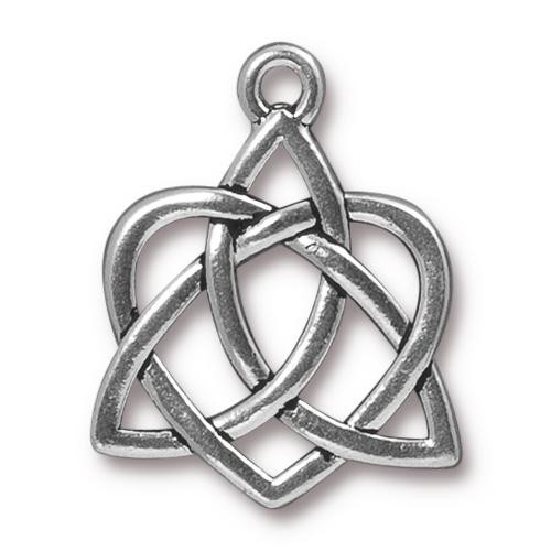 Celtic Open Heart Pendant, Antiqued Silver Plate, 10 per Pack