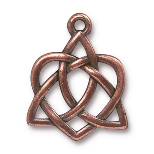 Celtic Open Heart Pendant, Antiqued Copper Plate, 10 per Pack