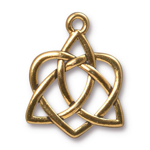 Celtic Open Heart Pendant, Antiqued Gold Plate, 10 per Pack