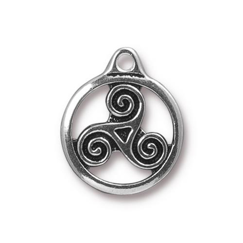 Triskele Charm, Antiqued Silver Plate, 20 per Pack