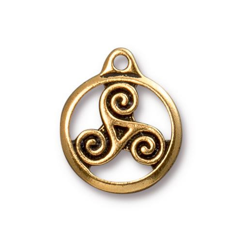 Triskele Charm, Antiqued Gold Plate, 20 per Pack