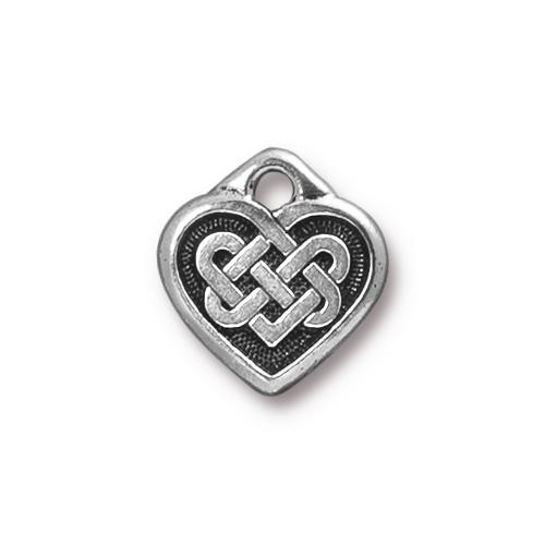 Celtic Heart Charm, Antiqued Silver Plate, 20 per Pack