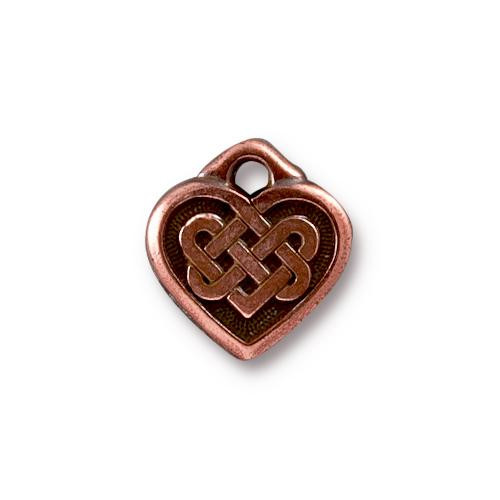 Celtic Heart Charm, Antiqued Copper Plate, 20 per Pack