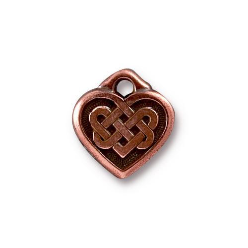 Celtic Heart Charm, Antiqued Copper Plate, 20 per Pack