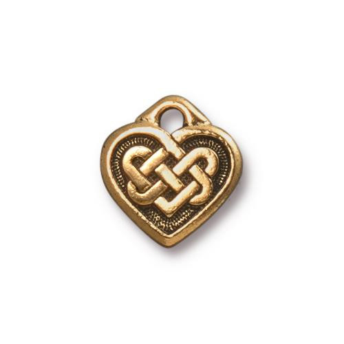 Celtic Heart Charm, Antiqued Gold Plate, 20 per Pack