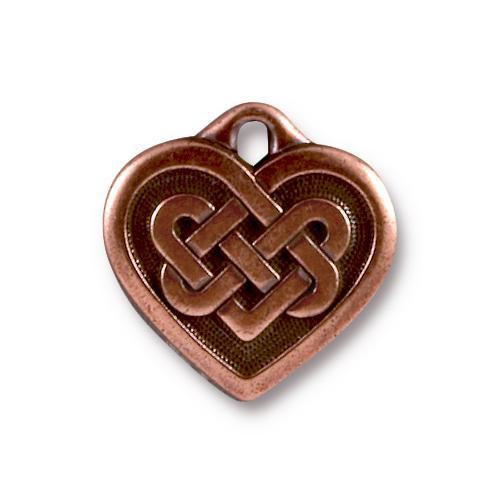 Celtic Heart Pendant, Antiqued Copper Plate, 20 per Pack