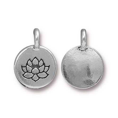 Lotus Charm, Antiqued Silver Plate, 20 per Pack