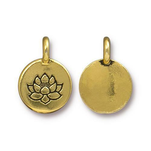 Lotus Charm, Antiqued Gold Plate, 20 per Pack